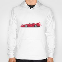 ferrari Hoodies featuring Ferrari F40  by Claeys Jelle Automotive Artwork