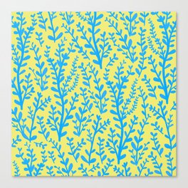 Yellow and Blue Floral Leaves Gouache Pattern Canvas Print