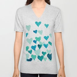 Valentine's Day Watercolor Hearts - turquoise Unisex V-Neck