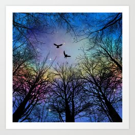 Wisdom Of The Night - Colorful Art Print