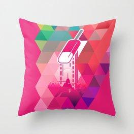 Raspberry Popsicle Throw Pillow