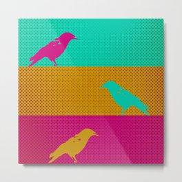 Tricolor Birds Metal Print