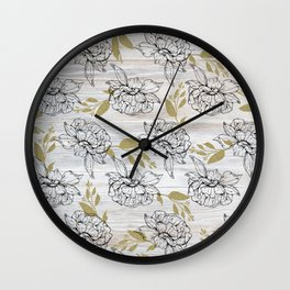 Rustic white wood black elegant faux gold floral Wall Clock
