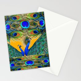 BLUE PEACOCKS  GOLDEN FEATHER DESIGN PATTERNS GN Stationery Cards