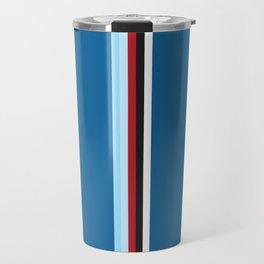 Pure Racing - Simple Lines on Blue Travel Mug