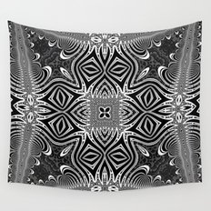 Black & White Tribal Symmetry Wall Tapestry