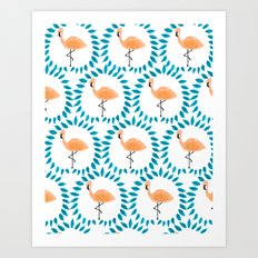 Flamingo and Leaves Art Print