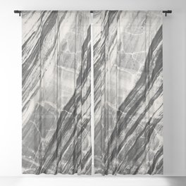 Abstract Marble - Black & Cream Sheer Curtain