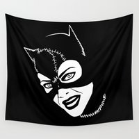 """meow Wall Tapestries featuring """"Meow"""" by Kramcox"""