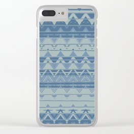 Tribal Triangles │ Muted Blues Clear iPhone Case