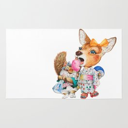 A child deer and squirrel at the summer festival Rug