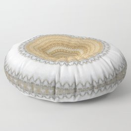 Gold white White and Silver Marble Floor Pillow