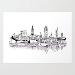 Glasgow City Skyline Art Print