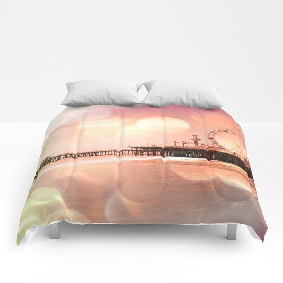 Sparkling pink Santa Monica Pier Comforters