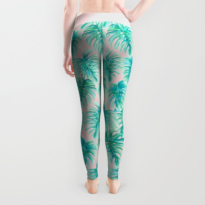 Paradise Palms Blush Leggings