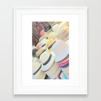 hats Framed Art Prints featuring Hats by Eva Lesko