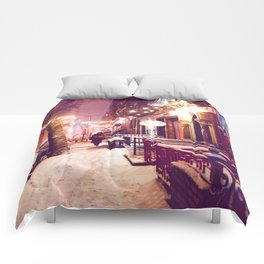 Winter Night with Snow in the East Village New York City Comforters