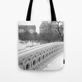 On Bow Bridge, B&W Photography Tote Bag