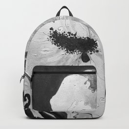 Black and White of Birthday AcrylicHibiscus Flower Painting Backpack