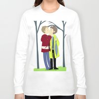 destiel Long Sleeve T-shirts featuring kissukissu by oh, wolves