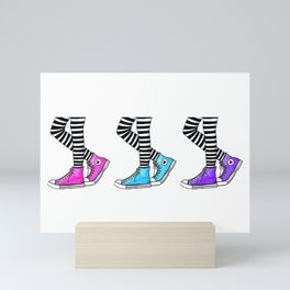 Sneakers Illustration | Hand Drawn Sneakers and Striped Tights | Pink, Turquoise and Purple Mini Art Print
