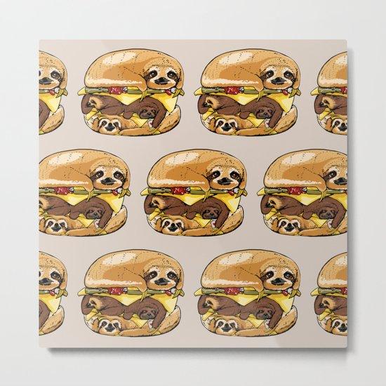 Sloths Burger Metal Print