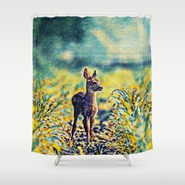 Lost Fawn Of The Dreamworld | Painting  Shower Curtain