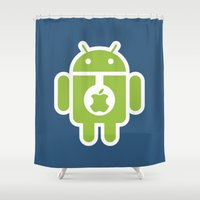 android Shower Curtains featuring Android eats Apple by Metin Seven