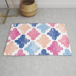 Copy of Watercolour Clouds | Blue, Coral and Pink Rug