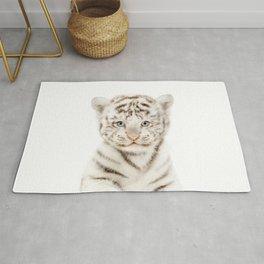 Baby White Tiger Cub Portrait Rug