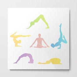 People performing yoga in different poses Metal Print