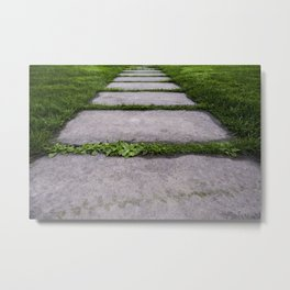 Detail of a walk in a Japanese garden, zen spa and relaxation in nature Metal Print