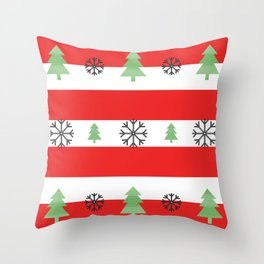 Christmas - tree and snowfolks pattern. Throw Pillow
