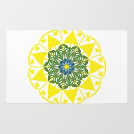 Yellow Green and Blue Mandala Flower Rug
