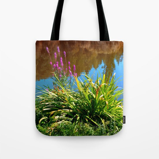 Flowers at the pond Tote Bag