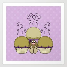 Cute Monster With Yellow And Purple Frosted Cupcakes Art Print