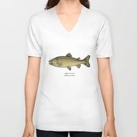 trout V-neck T-shirts featuring Brown trout by Eugenia Hauss