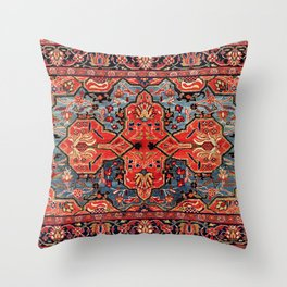 Kashan Poshti Central Persian Rug Print Throw Pillow