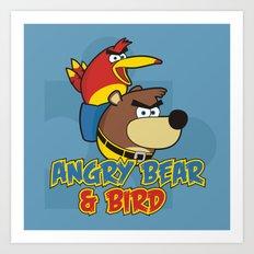 Angry Bear & Bird Art Print