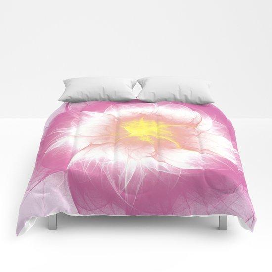 Pink Flower Fractal Comforters