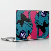 rock n roll Laptop & iPad Skins featuring Rock N' Roll Skull by Diseños Fofo