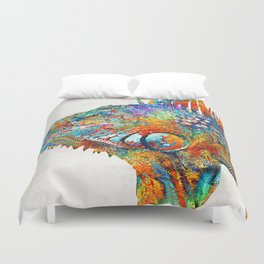 Colorful Iguana Art - One Cool Dude - Sharon Cummings Duvet Cover