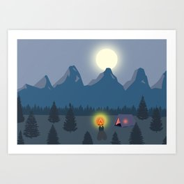 Bonfire camping in the mountains Art Print