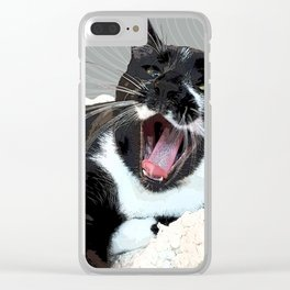 A yawn Cat.    cats, cat, yawn, pattern, pet, feline, animals, Society6. Clear iPhone Case