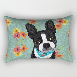 Tropical Boston Terrier Boy Rectangular Pillow