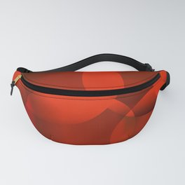 Abstract soap of orange molecules and transparent bubbles on a red background. Fanny Pack