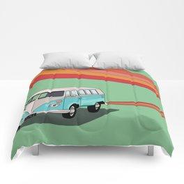 Zooming Hippie Van Comforters