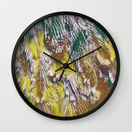 feather texture in yellow and green Wall Clock