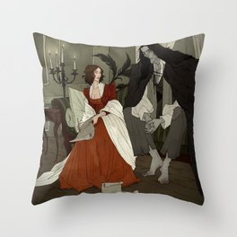 Mary Shelley and Her Creation Throw Pillow
