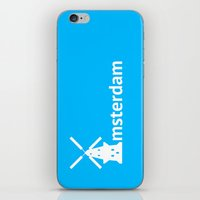 amsterdam iPhone & iPod Skins featuring Amsterdam by Flat Design